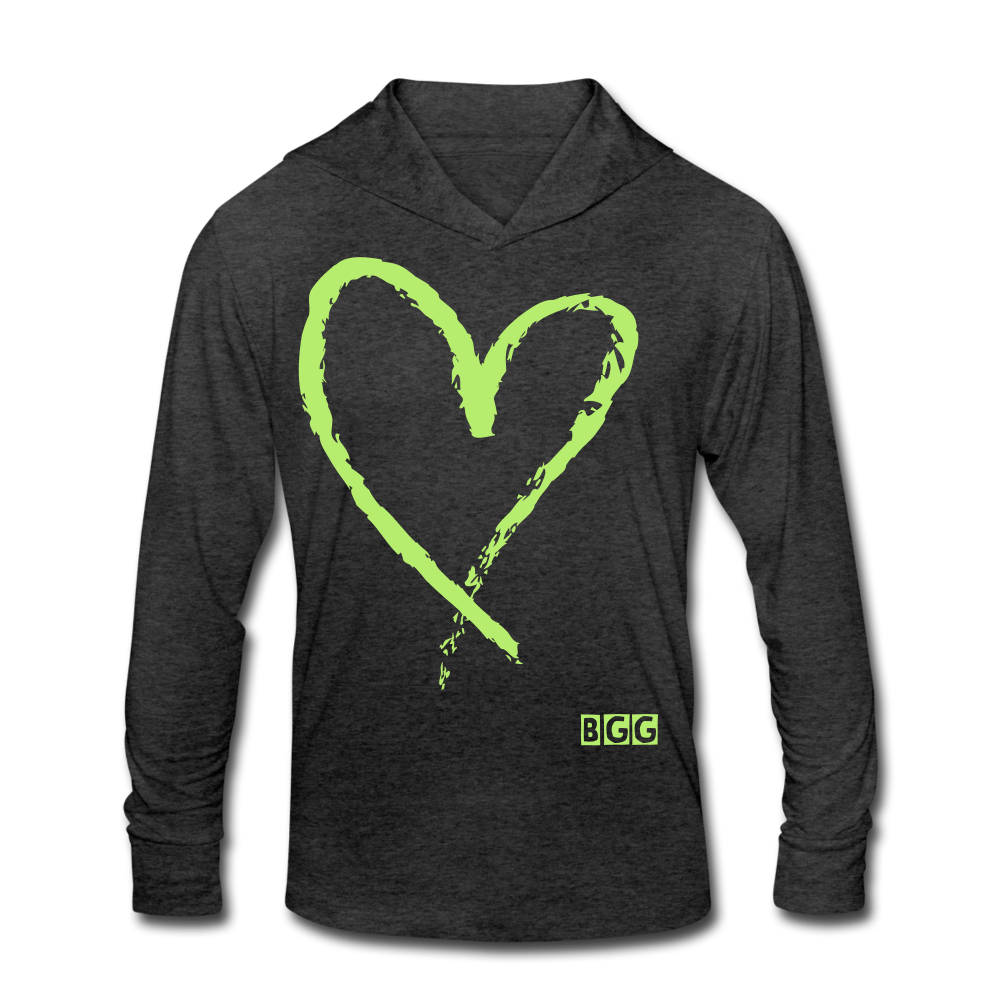 Love More Tri-Blend Shirt Hoodie - heather black