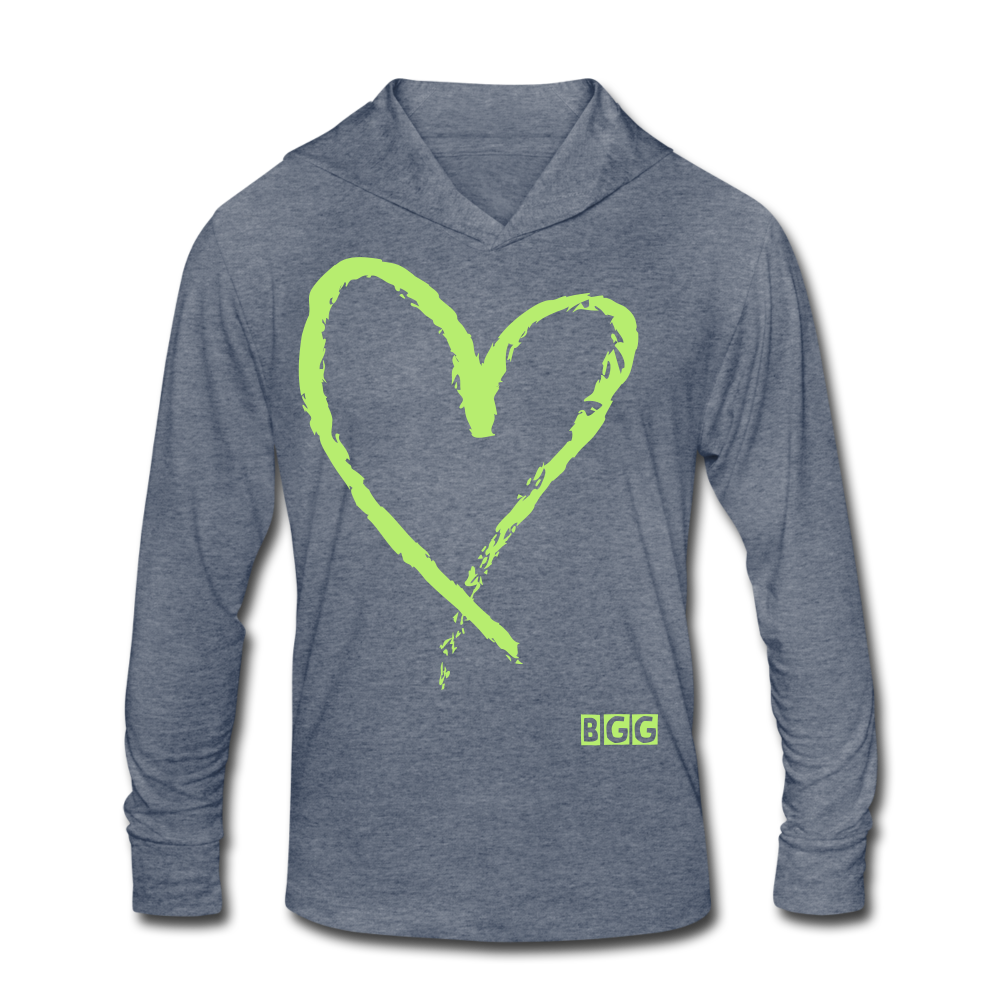 Love More Tri-Blend Shirt Hoodie - heather blue