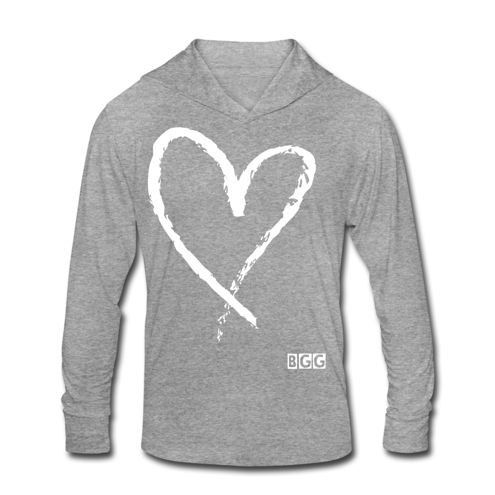 Love More Tri-Blend Hoodie Shirt - heather gray