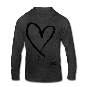 Love More-Blend Hoodie Shirt - heather black