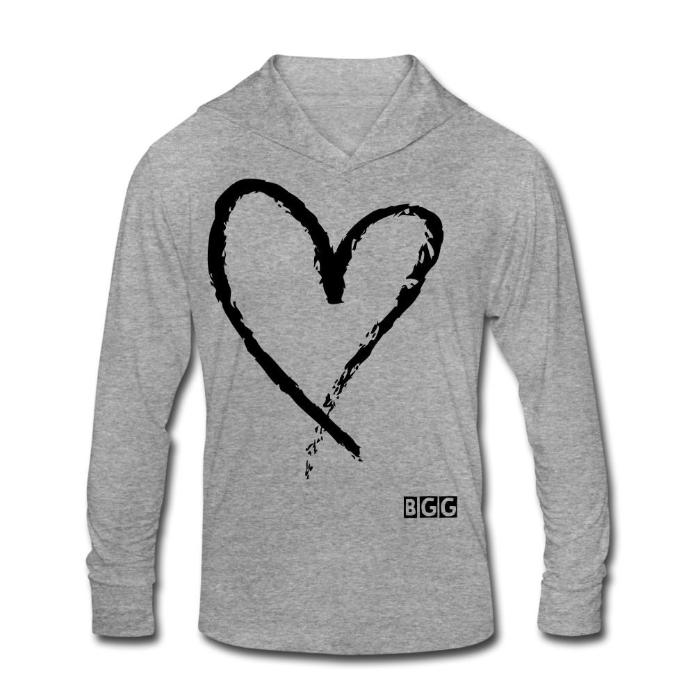 Love More-Blend Hoodie Shirt - heather gray