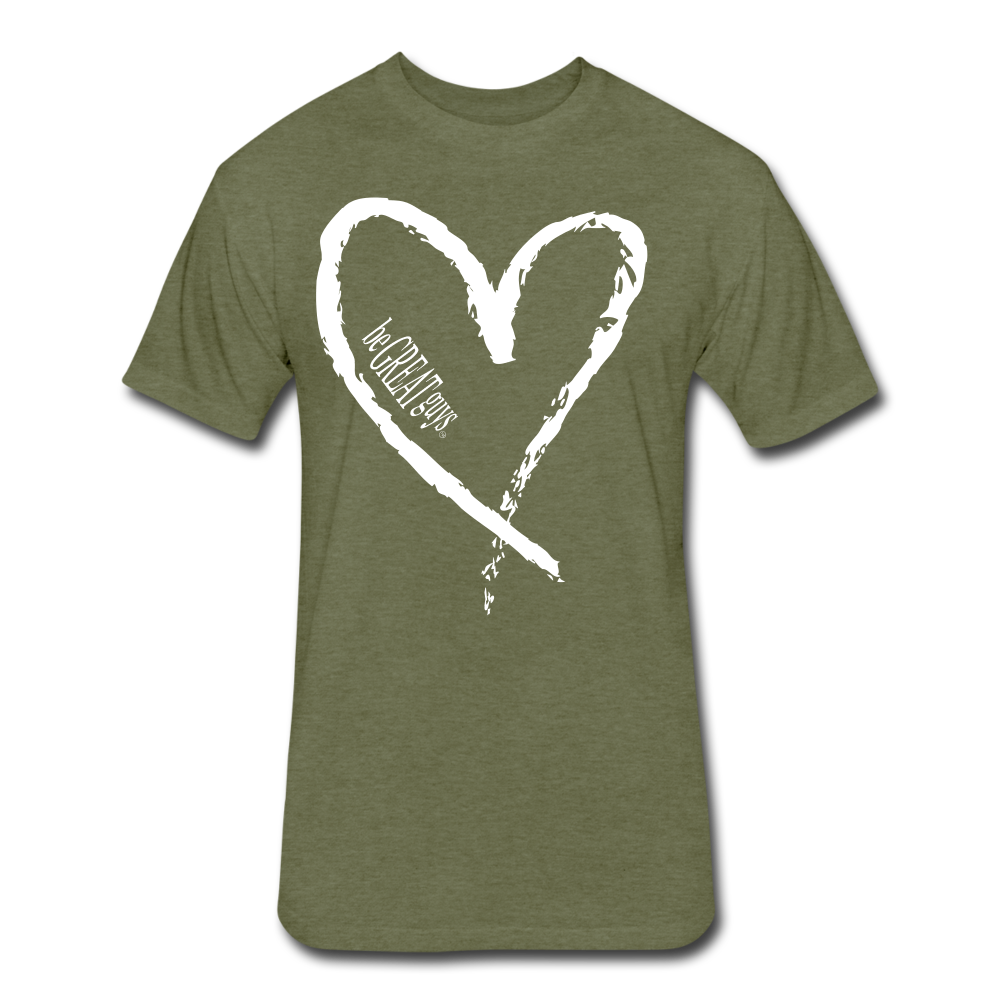 Love More Tri-blend T - heather military green