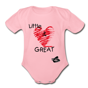 Little & GREAT Short Sleeve Baby Bodysuit - light pink