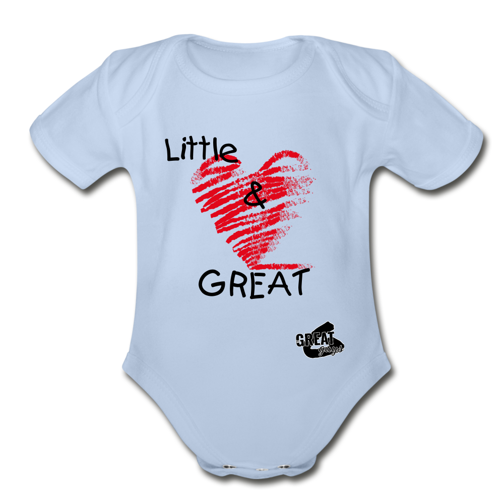 Little & GREAT Short Sleeve Baby Bodysuit - sky