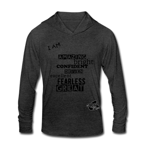 I AM Unisex Tri-Blend Hoodie Shirt - heather black
