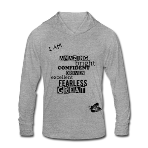 I AM Unisex Tri-Blend Hoodie Shirt - heather gray