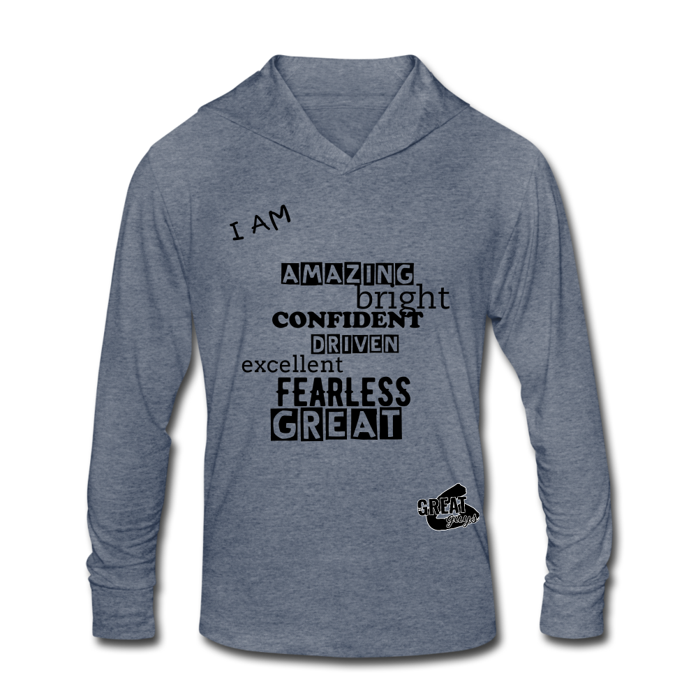 I AM Unisex Tri-Blend Hoodie Shirt - heather blue