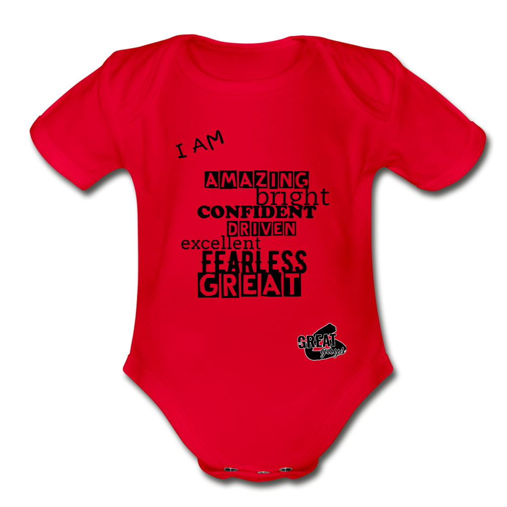 I AM Short Sleeve Baby Bodysuit - red