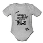 I AM Short Sleeve Baby Bodysuit - heather gray