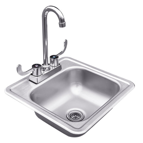 "Summerset 15x15"" Stainless Steel Drop-in Sink & Hot/Cold Faucet"