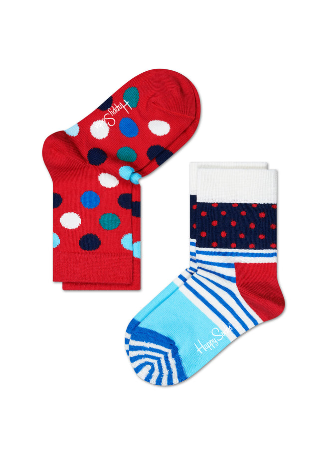 2-PACK DOT & STRIPES SOCKS