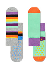 KIDS 2-PACK STRIPE ANTI-SLIP SOCKS