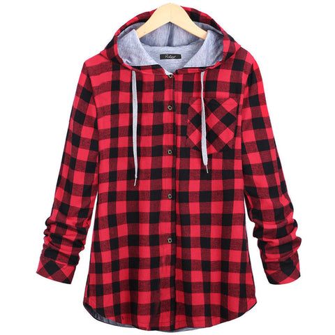 Long Sleeve Plaid Cotton Hoodies Casual Button Hooded Sweatshirt Oversize