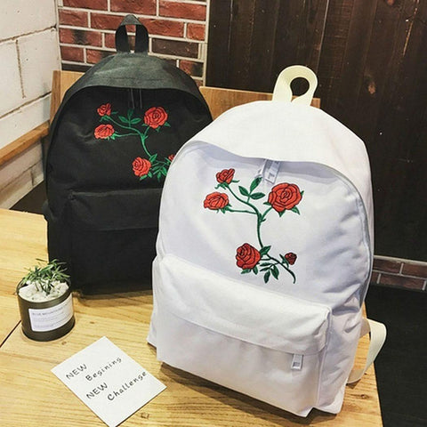 Flower Print Canvas Backpack