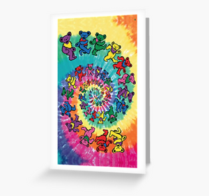 Grateful Dead - Spiral Dancing Bears - Greeting Cards & PostCards