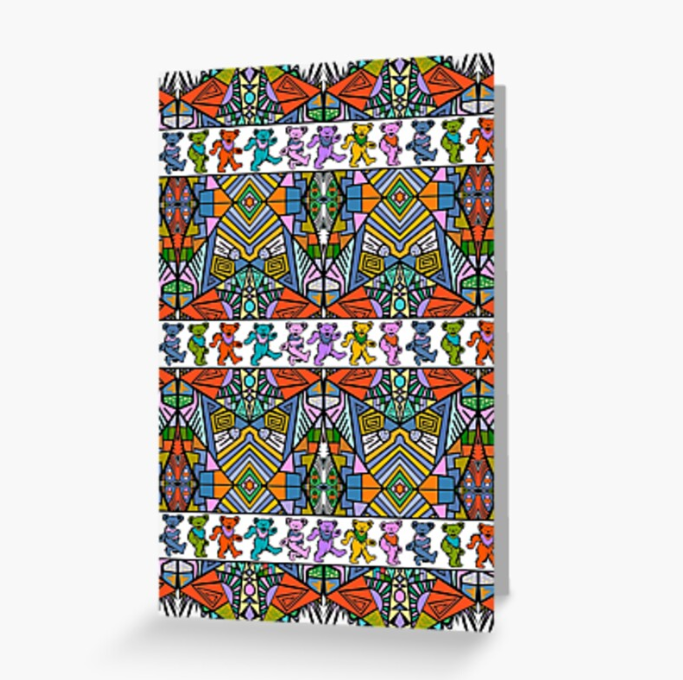 Grateful Dead - Trippy Tribal Bears - Greeting Cards & PostCards