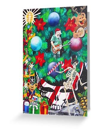Grateful Dead Christmas Ornament.Grateful Dead Christmas On The Moon Greeting Cards Postcards