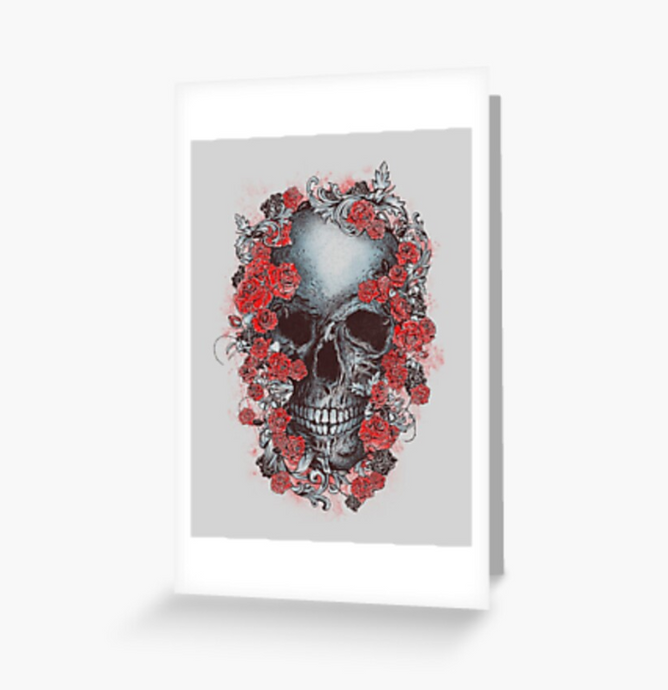 Grateful Dead - Skull & Begonias - Greeting Cards & PostCards