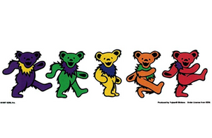 Grateful Dead - 5 Jerry Bears On Clear Background - Sticker