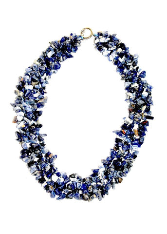 Genuine Sodalite Gems Chips Choker Necklace