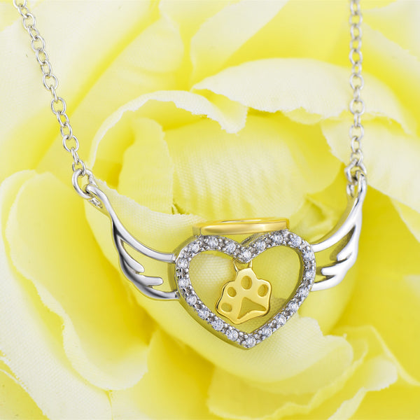 Angel Wings Heart Paw Charm Necklace