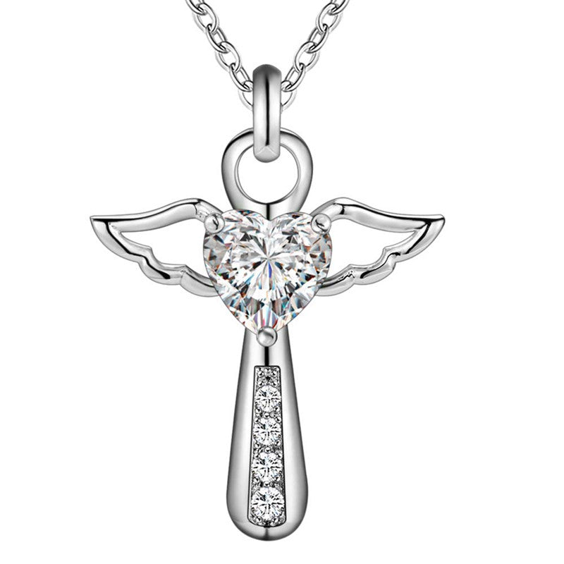 Cross Angel Wings Zircon Necklace
