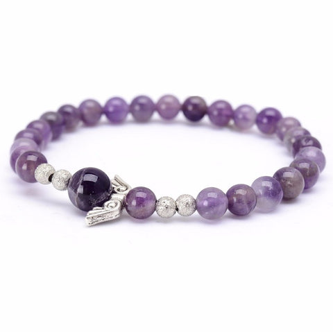 Natural  Amethyst Angel Wings Lucky Bracelet