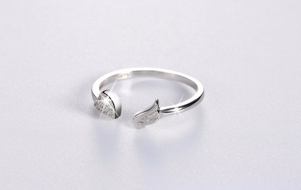 Silver CZ Paved Heart Angel Wing Ring