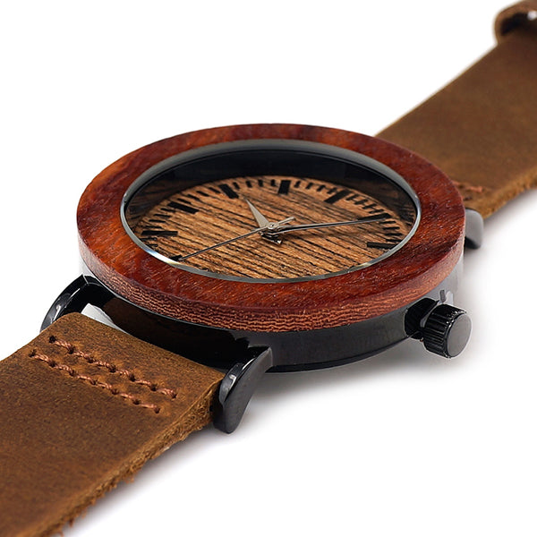Wooden Ladies Watch Genuine Leather Band