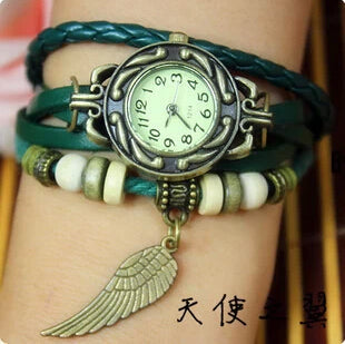 Vintage Leather Bracelet Pendant Wraparound Wrist Watch