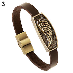 Angel Wing Heart Cross Bronze and Leather Bangle Bracelet