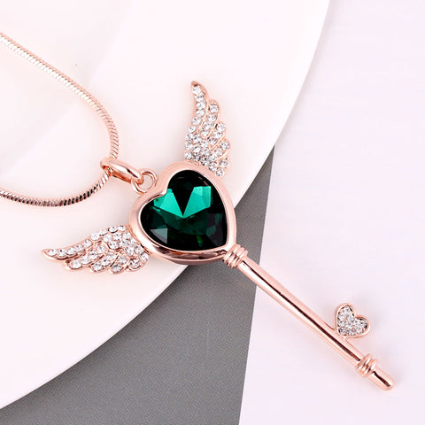 Raphael Angel Wing Crystal Heart Key Long Necklace