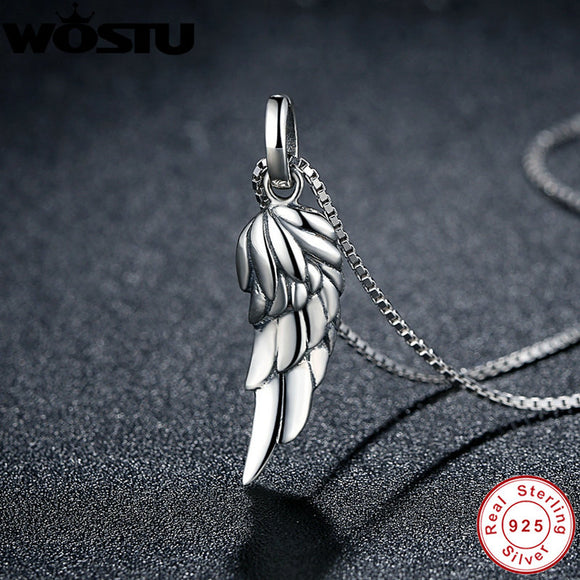Sterling Silver Angel Wing Feather Pendant Necklace
