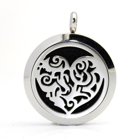 Silver Aromatherapy Heart Essential Oil Diffuser Necklace