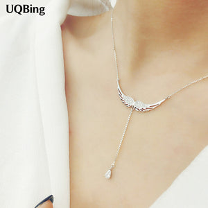 Sterling Silver Drop Zircon Angel Wing Choker Necklace