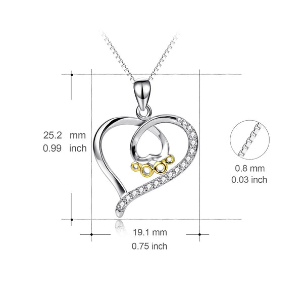 925 Sterling Silver CZ Crystal Love Dog Paw Necklace