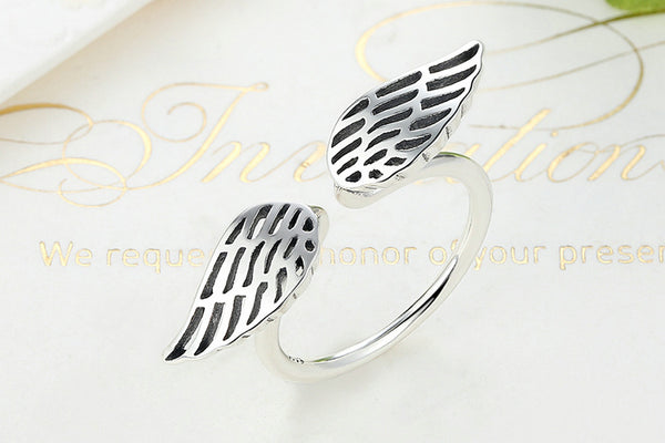Openwork Angel Wings Sterling Silver Ring