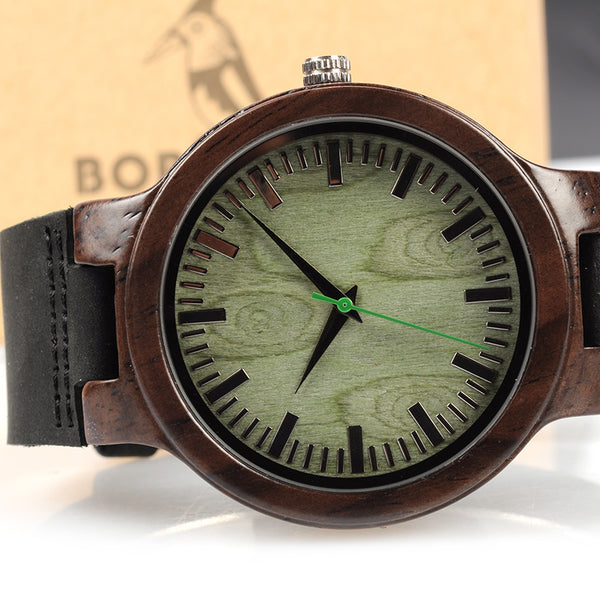 BOBO BIRD Green Ebony Wooden Watch