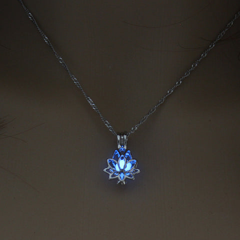 Luminous Glow In The Dark Lotus Flower Pendant Necklace
