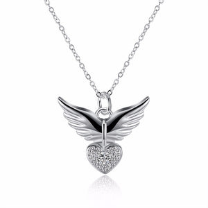 Heart Angel Wing CZ Necklace