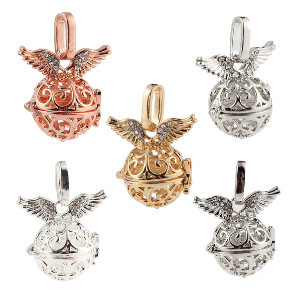 Rhinestone Angel Wings Hollow Ball Cage Locket Pendant