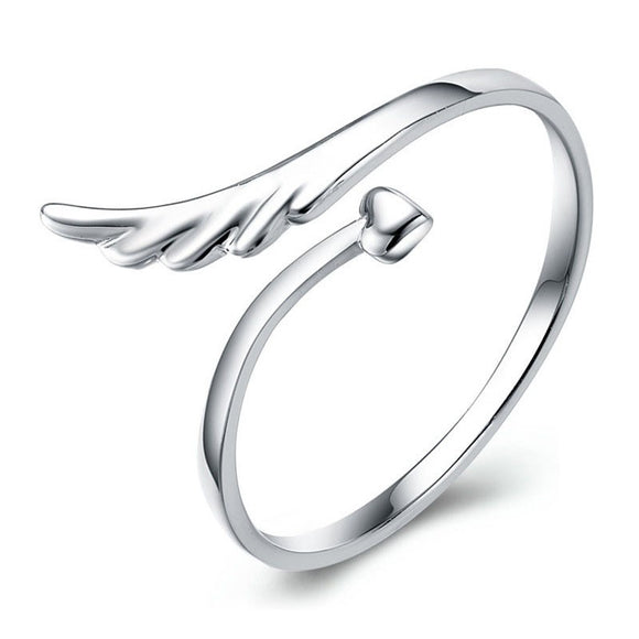925 Sterling Silver Adjustable Angel Ring