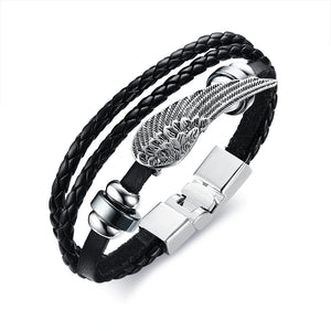 Angel Wing Tribal Braided Wrap Leather Bracelet
