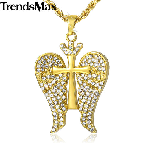 Winged Cross Crown Pave Pendant with Chain