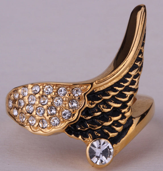 Stainless Steel Angel Wing Antique Ring