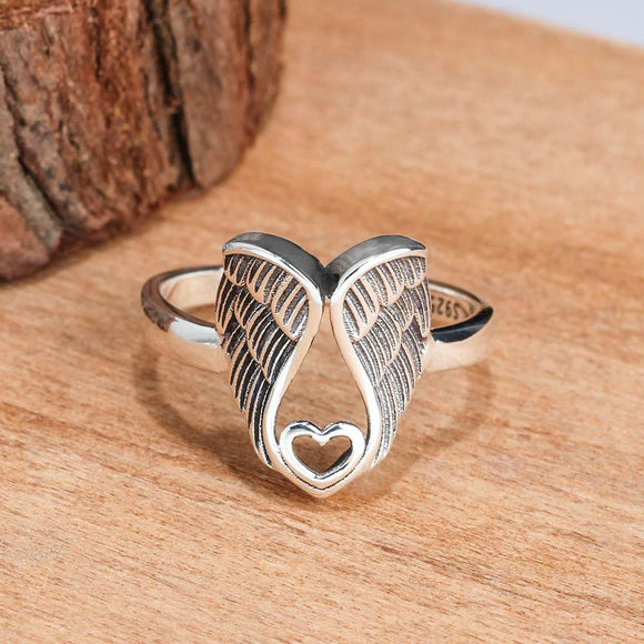 Angel Wings Heart Silver Ring