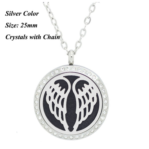 Stainless Steel Angel Wings Essential Oil Diffuser Necklace