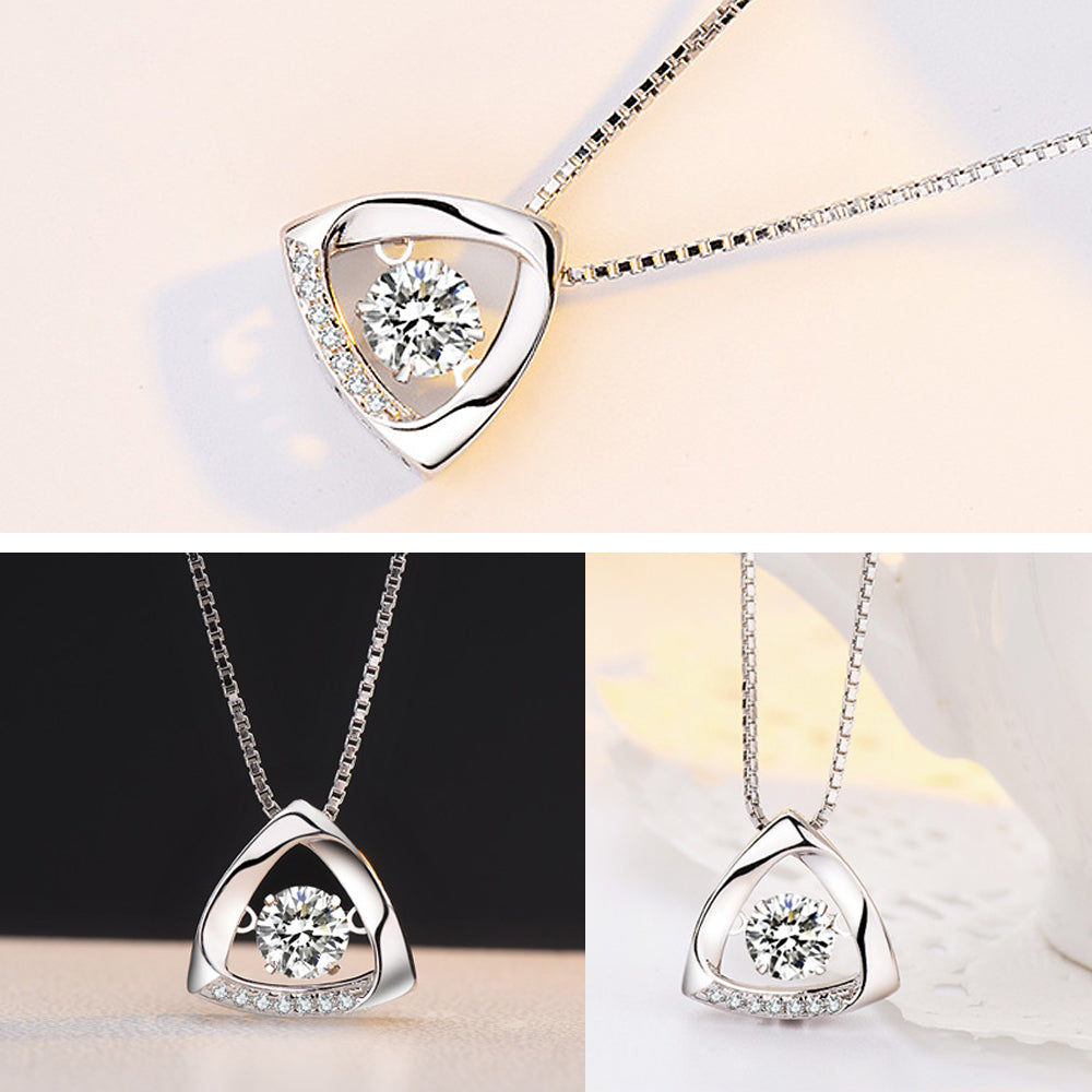Dancing Goddess CZ Stone Triangle 925 Sterling Silver Necklace