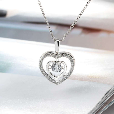 Dancing Goddess Double Heart 925 Sterling Silver CZ Stone Necklace