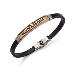 Stainless Steel Angel Wings Leather Bracelet